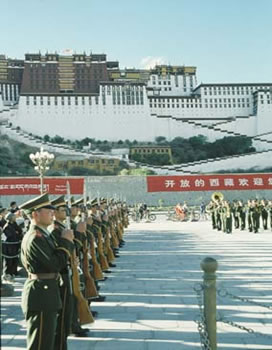 Chinese soldiers below the Potala Palace. Image from: www.tibetimages.co.uk